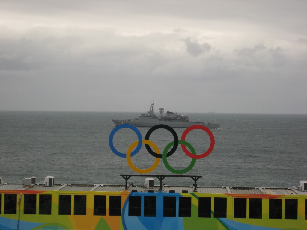 Ship with Olympic rings